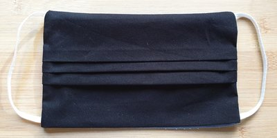 Mondmasker effen zwart met elastiek