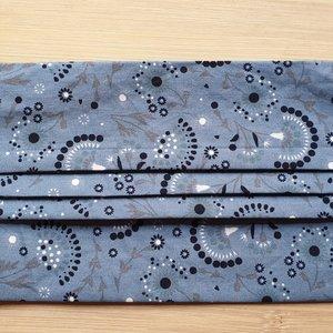 Mondmasker grijs/blauw waaiers met elastiek