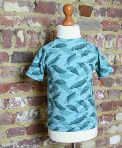 T-shirt groen grote pluimen maat 6 jaar (116)