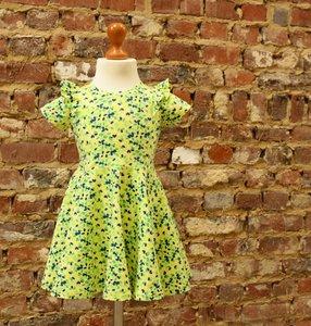 Zomers jurkje met cirkelrok geel stippen maat 3 jaar (98)