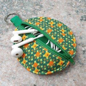 Rond zakje retro met groene rits en sleutelring